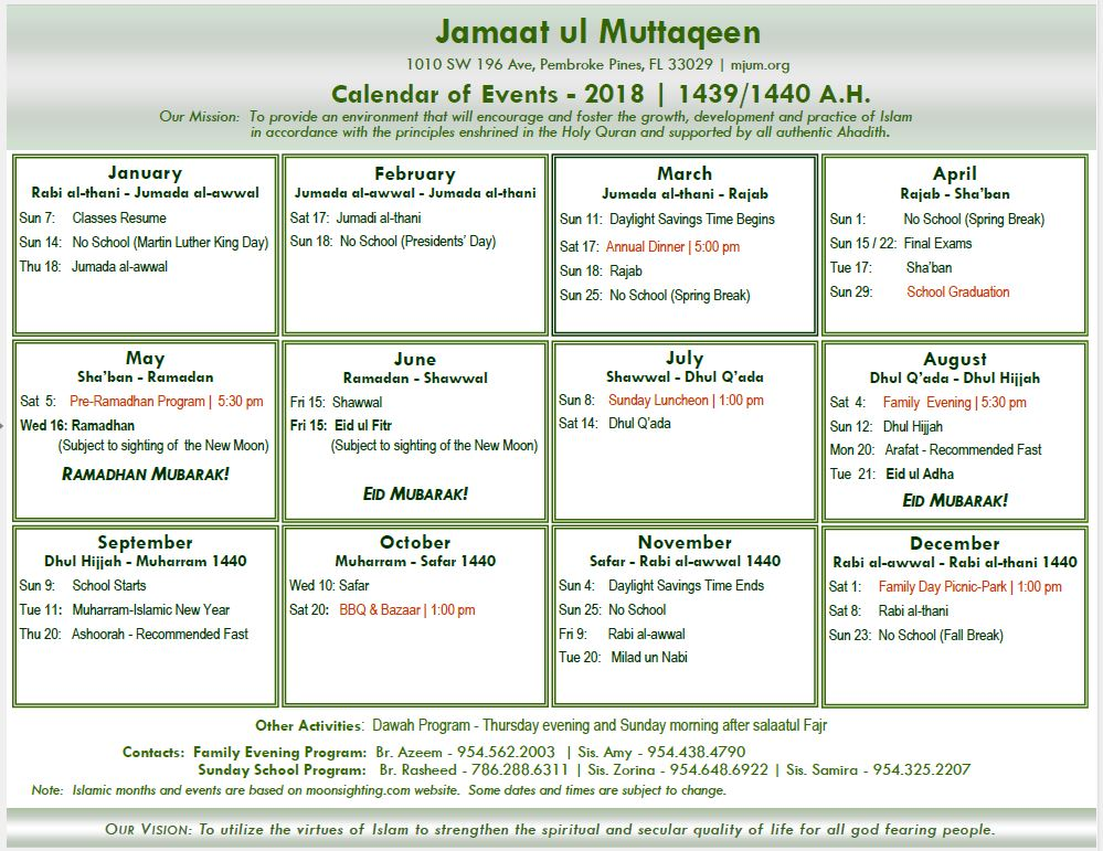 2018 Calendar of Events - Masjid Jamaatul Muttaqeem - MJUM
